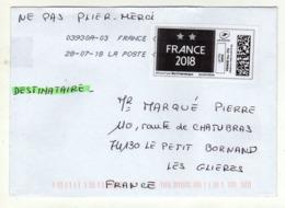 Enveloppe Avec Vignette D' Affranchissement FRANCE Lettre Verte Oblitération LA POSTE 03930A-03 28/07/2018 - 2010-... Illustrated Franking Labels