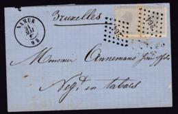 N° 17 ( 2 ) / Lettre De Namur Vers Bruxelles 31 Mai 1867 ( Lac ) - 1865-1866 Profile Left