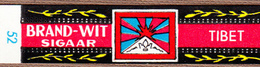 "Flag Of TIBET On Cigar Band, Belgian ""Brand-Wit"", 1950s - Bauchbinden (Zigarrenringe)"