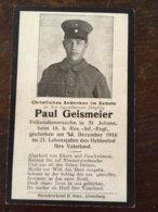 Sterbebild Wk1 Ww1 Bidprentje Avis Décès Deathcard RIR18 DEzember 1916 Aus St. Johann - 1914-18