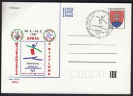 Slovakia Brezno 1997 / Biathlon World Championship / Postal Stationery Coat Of Arms - Invierno