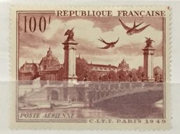 Timbre France Poste Aérienne YT 28 (*) MH 1949 Grand Palais Et Pont Alexandre III (côte 6,10 Euros) – 184a - Luftpost