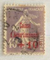 Timbre France Semeuse Caisse D'amortissement YT 249 (°) Obl 1928, +10c Sur 40 C [violet-gris] (10 Euros) – 405k1 - Gebruikt