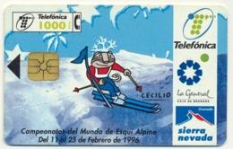 SPAIN - ESPAGNE - SPANIEN TELEFONICA FAUNA IBERICA CHIP PHONECARD TELECARTE SPORT ALPINE SKI SIERRA NEVADA - Espagne