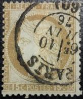 FRANCE Y&T N°55d Cérès 15c Bistre-orange. Oblitéré CàD Paris - 1871-1875 Cérès