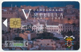 SPAIN - ESPAGNE - SPANIEN TELEFONICA CHIP PHONECARD TELECARTE 500th ANNIVERSARY OF MELILLA TOWN QTY 600.000 - Espagne