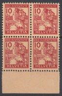 SCHWEIZ  129, 4erBlock Mit Unterrand, Postfrisch **, Pro Juventute 1915, Trachtenmädchen - Ungebraucht