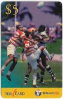 Fiji - Telecom Fiji - Rugby, High Ball, Cn.99023, Remote Mem. 5$, Used - Fidji