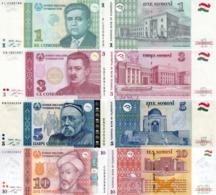Tajikistan Set (4v) 1 3 5 10 Somoni 1999 - 2018  P 14A 20 23 24  UNC - Tadzjikistan