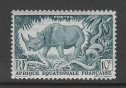 TIMBRE NEUF D'AFRIQUE EQUATORIALE FRANCAISE - RHINOCEROS N° Y&T 208 - A.E.F. (1936-1958)