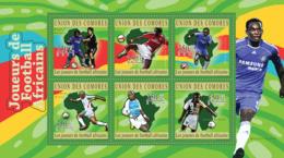 COMORES 2010 - African Football Players (Didier Drogba.. Lucas Radebe). YT 2119-2124, Mi 2831-2836 - Comoros