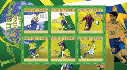COMORES 2010 - Brazilian Football Players (Romario.. Rivaldo). YT 2101-2106, Mi 2824-2829 - Komoren (1975-...)