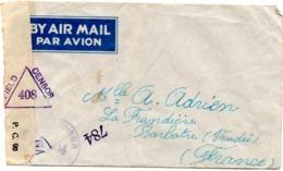 Lettre Par Avion Muette Censor 408 X 604 Barbatre Indochine 1945 - Poste Aérienne