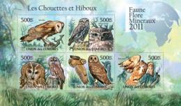 COMORES 2011 - Owls I. YT 2225-2229, Mi 3033-3037 - Komoren (1975-...)