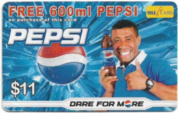 Fiji - Telecom Fiji - Advertising, Pepsi Cola, Cn.04104, Remote Mem. 11$, Used - Fidji