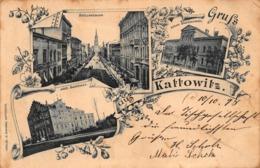 GRUSS Aus KATTOWITZ POLAND ~ HOLTZESTRASSE-BADEHAUS-MADCHENSCHULE~1898 G SIWINNA PUBLISHED PHOTO POSTCARD - Polen