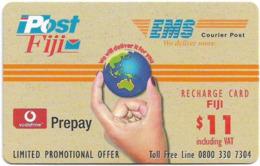 Fiji - Vodafone - Post Fiji EMS - Globe In Fingers, Cn.00350, GSM Refill 11$, Used - Figi