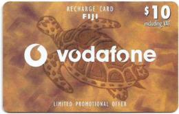 Fiji - Vodafone - Turtle, Cn.00180, Small Barcode, GSM Refill 10$, Used - Fidji