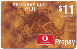 Fiji - Vodafone - Turtle, Cn.00180, No Value Sticker, With Vodafone Logo, GSM Refill 11$, Used - Figi