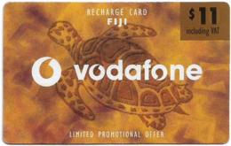 Fiji - Vodafone - Turtle, Cn.00180, Gold Value Sticker, No Vodafone Logo, GSM Refill 11$, Used - Fidji