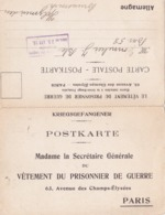 Carte Double En Franchise Militaire - Le Vêtement Du Prisonnier De Guerre - Secrétaire Générale - Marcophilie (Lettres)
