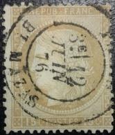 FRANCE Y&T N°55a Cérès 15c Bistre-jaune. Oblitéré CàD Paris ( Mazas) - 1871-1875 Cérès