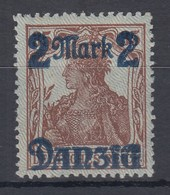 Danzig 2 Mark Auf 35 Pfg Germania Mit DOPPELTEM NETZUNTERDRUCK Mi.-Nr. 28 III * - Dantzig
