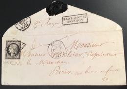 """1849 20c Noir CACHET RARE """"ADRESSE INCOMPLETE"""" Lettre BREST 1850 (28 Finistére) > Paris, Signé Scheller (France Yv 3 - 1849-1850 Cérès"""