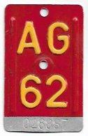 Velonummer Aargau AG 62 - Plaques D'immatriculation