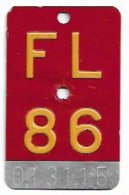 Velonummer Liechtenstein FL 86, Rot - Plaques D'immatriculation