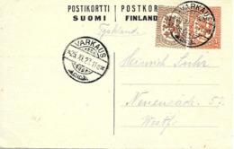 Varkaus 1927 Sur Entier Postal - Finnland