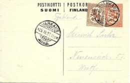 Varkaus 1927 Sur Entier Postal - Enteros Postales