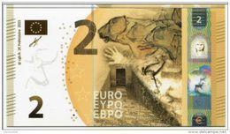 """Belle Carte """"Cie Générale De Bourse"""" Paris, Représentant Un Billet Fictif De 2 Euros - Préhistoire - Euro Bank Note - EURO"""