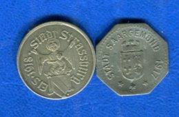 10  Pf  Strasbourg + 5 Pf Sarregurmines - Monetary / Of Necessity
