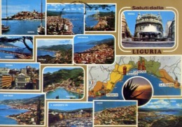 Saluti Dalla Liguria - Genova - Savona - La Spezia - Imperia - Formato Grande Viaggiata – E 14 - Zonder Classificatie