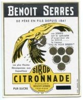 Étiquette Ancienne * BENOIT SERRES Sirop De CITRONNADE Distillerie à Toulouse ( Décorée D'un Aigle En Vol ) - Etiketten