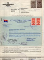 1967 YUGOSLAVIA, CROATIA, DUBROVNIK, ATLANTSKA PLOVIDBA LETTERHEAD, SHIP PEST CONTROL CERTIFICATE, 4 REVENUE STAMPS - Invoices & Commercial Documents