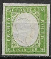 REGNO D'ITALIA 1861 EMISSIONE PROVINCE NAPOLETANE EFFIGE V.EMANUELE II SASS. 1 MLH VERDE GIALLO  VF - 1861-78 Victor Emmanuel II.