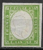 REGNO D'ITALIA 1861 EMISSIONE PROVINCE NAPOLETANE EFFIGE V.EMANUELE II SASS. 1 MLH VERDE GIALLO  VF - Ungebraucht