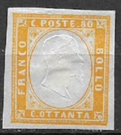 REGNO D'ITALIA 1861 EMISSIONE PROVINCE NAPOLETANE EFFIGE V.EMANUELE II SASS. 5 MLH ARANCIO VF - Ungebraucht
