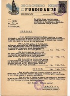 1954 YUGOSLAVIA,SERBIA, BELGRADE, FOUNDATIONS CONTRACTING CO.,CERTIFICATION,   1 REVENUE STAMP - Invoices & Commercial Documents