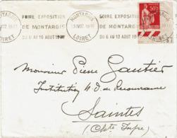 LCTN58/2 - PAIX 50c TYPE III SEUL SUR LETTRE MONTARGIS / SAINTES 23/4/1937 - 1932-39 Frieden