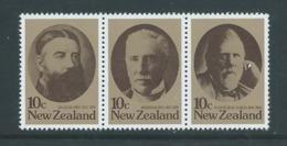 New Zealand 1979 Statesmen Strip Of 3 MNH - Nueva Zelanda