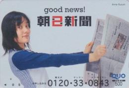 Carte Prépayée Japon - FEMME / PRESSE JOURNAL - GIRL / PRESS Japan Prepaid QUO Card - Frau - 6257 - Personaggi