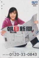 Carte Prépayée Japon - FEMME / PRESSE JOURNAL - GIRL / PRESS Japan Prepaid QUO Card - Frau - 6261 - Personaggi