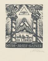 Ex Libris MUDr Josef Sajner - Michael Florian (1911-1984) Gesigneerd - Ex-libris