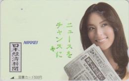 Carte Prépayée Japon - FEMME / PRESSE JOURNAL NIKKEI - GIRL / PRESS Japan Prepaid TOSHO Card - Frau - 6266 - Personaggi