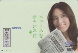 Carte Prépayée Japon - FEMME / PRESSE JOURNAL NIKKEI - GIRL / PRESS Japan Prepaid QUO Card - Frau - 6267 - Personaggi