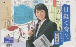 Carte Prépayée Japon - FEMME 500 YENS / PRESSE JOURNAL NIKKEI - GIRL / PRESS Japan Prepaid TOSHO Card - Frau - 6268 - Personaggi