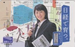 Carte Prépayée Japon - FEMME 1000 YENS / PRESSE JOURNAL NIKKEI - GIRL / PRESS Japan Prepaid TOSHO Card - Frau - 6269 - Personaggi